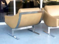 Kipp Stewart Kipp Stewart Pair of Stainless Steel and Camel Leather Lounge Chairs 1960s - 1397698