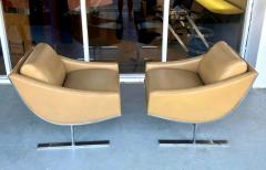 Kipp Stewart Kipp Stewart Pair of Stainless Steel and Camel Leather Lounge Chairs 1960s - 1397700