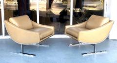 Kipp Stewart Kipp Stewart Pair of Stainless Steel and Camel Leather Lounge Chairs 1960s - 1397701