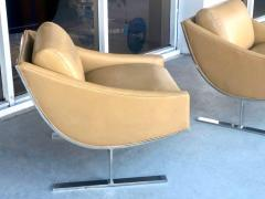 Kipp Stewart Kipp Stewart Pair of Stainless Steel and Camel Leather Lounge Chairs 1960s - 1397702