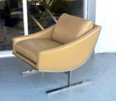 Kipp Stewart Kipp Stewart Pair of Stainless Steel and Camel Leather Lounge Chairs 1960s - 1397703