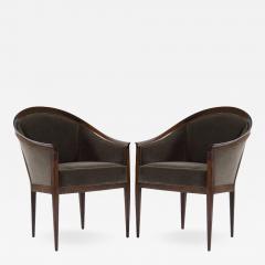 Kipp Stewart Kipp Stewart for Directional Walnut Frame Lounge Chairs - 497140