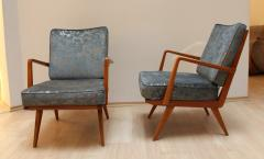 Knoll Midcentury Armchairs Cherry Wood Blue Silver Fabric - 874837