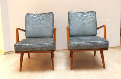 Knoll Midcentury Armchairs Cherry Wood Blue Silver Fabric - 874841