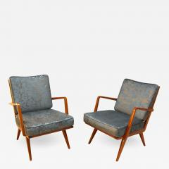 Knoll Midcentury Armchairs Cherry Wood Blue Silver Fabric - 875057