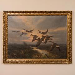Knud Edsberg Vintage Original Oil Painting of a Flight of Geese Knud Edsberg - 1068204
