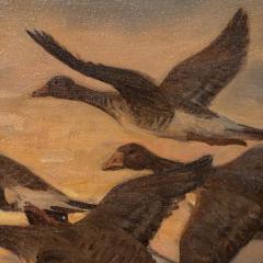Knud Edsberg Vintage Original Oil Painting of a Flight of Geese Knud Edsberg - 1068206