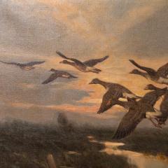 Knud Edsberg Vintage Original Oil Painting of a Flight of Geese Knud Edsberg - 1068207