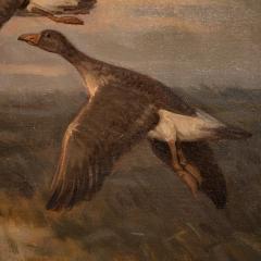 Knud Edsberg Vintage Original Oil Painting of a Flight of Geese Knud Edsberg - 1068208