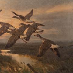 Knud Edsberg Vintage Original Oil Painting of a Flight of Geese Knud Edsberg - 1068209