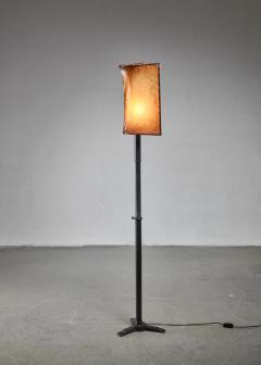 Knut Hallgren Knut Hallgren bronze and leather floor lamp Sweden 1920s 30s - 1163939