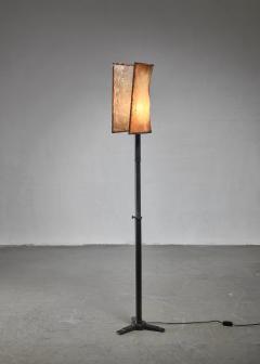 Knut Hallgren Knut Hallgren bronze and leather floor lamp Sweden 1920s 30s - 1163940