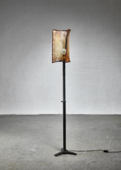 Knut Hallgren Knut Hallgren bronze and leather floor lamp Sweden 1920s 30s - 1163941