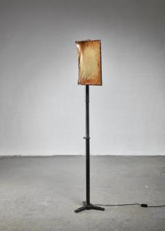 Knut Hallgren Knut Hallgren bronze and leather floor lamp Sweden 1920s 30s - 1163942