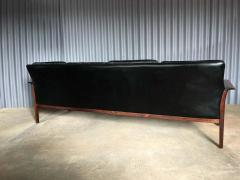 Knut S ter Knut Saeter for Vatne Mobler Leather and Rosewood Four Seater Sofa - 1267174