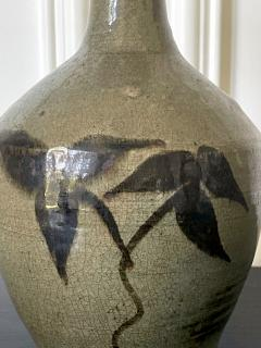 Korean Celadon Bottle Vase with Slip Decoration Goryeo Dynasty - 2114344