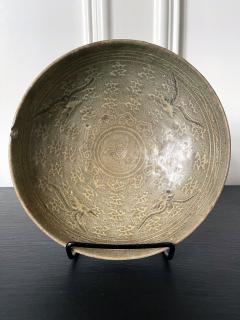 Korean Ceramic Celadon Bowl with Slip Inlay Goryeo Dynasty - 1940992