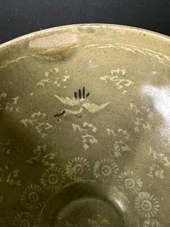 Korean Ceramic Celadon Bowl with Slip Inlay Goryeo Dynasty - 2097547