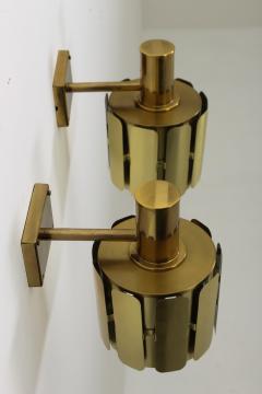 Kosthantverk Tyringe Pair of Swedish Midcentury Wall Lamps in Brass by Tyringe Konsthantverk 1960s - 835562