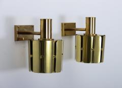 Kosthantverk Tyringe Pair of Swedish Midcentury Wall Lamps in Brass by Tyringe Konsthantverk 1960s - 835564