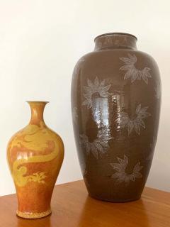 Kozan Makuzu Rare Large Vase with White Slip Inlay Makuzu Kozan Meiji Period - 1164900
