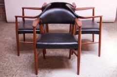 Kurt Olsen Set of Four Teak and Leather Armchairs by Kurt Olsen for Slagelse M belv rk - 1083557
