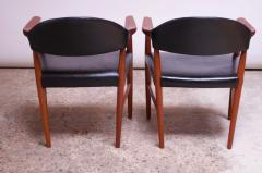 Kurt Olsen Set of Four Teak and Leather Armchairs by Kurt Olsen for Slagelse M belv rk - 1083559