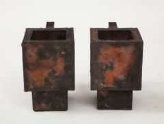 Kwangho Lee Pair of Red Green Enameled Copper Mugs by Kwengho Lee - 1880689