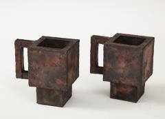 Kwangho Lee Pair of Red Green Enameled Copper Mugs by Kwengho Lee - 1880690