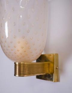 L 27 modernist pair of brass mounted murano glass sconces - 743161