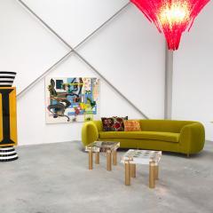 L A Studio L A Studio Contemporary Lime Cotton Velvet Curved Italian Sofa - 1550071