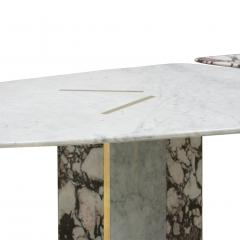 L A Studio L A Studio Contemporary Modern Marble and Brass Italian Dining Table - 1465879