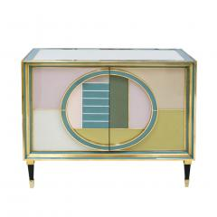 L A Studio Mid Century Modern Brass and Colored Glass Pair of Italian Sideboards - 1575666