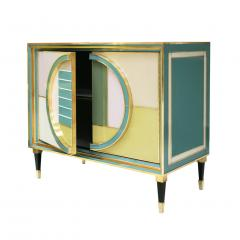 L A Studio Mid Century Modern Brass and Colored Glass Pair of Italian Sideboards - 1575669