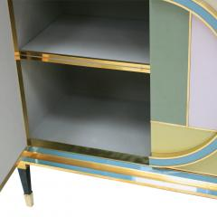 L A Studio Mid Century Modern Brass and Colored Glass Pair of Italian Sideboards - 1575670