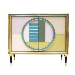L A Studio Mid Century Modern Brass and Colored Glass Pair of Italian Sideboards - 1575671