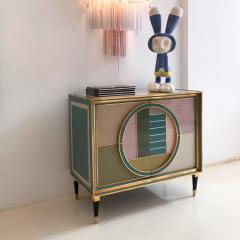 L A Studio Mid Century Modern Brass and Colored Glass Pair of Italian Sideboards - 1575692