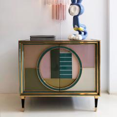 L A Studio Mid Century Modern Brass and Colored Glass Pair of Italian Sideboards - 1575693