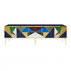 L A Studio Mid Century Modern Solid Wood and Colored Glass Italian Sideboard - 1550041