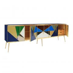 L A Studio Mid Century Modern Solid Wood and Colored Glass Italian Sideboard - 1550047