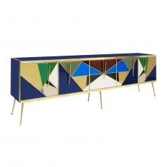 L A Studio Mid Century Modern Solid Wood and Colored Glass Italian Sideboard - 1550048