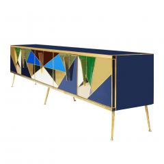 L A Studio Mid Century Modern Solid Wood and Colored Glass Italian Sideboard - 1550049
