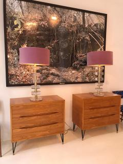 L A Studio Mid Century Modern Style Pair of Sculptural Murano Glass Italian Table Lamps - 1855384