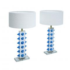 L A Studio Pair of Table Lamps With Colored Murano Glass - 1449108