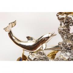 L Soprani Monumental Italian 925 Silver Lapis Dolphin Nautical Centerpiece Sculpture - 1111892