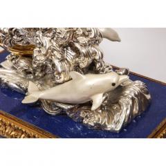 L Soprani Monumental Italian 925 Silver Lapis Dolphin Nautical Centerpiece Sculpture - 1111893