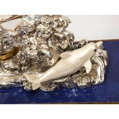 L Soprani Monumental Italian 925 Silver Lapis Dolphin Nautical Centerpiece Sculpture - 1111895