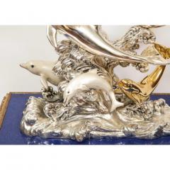 L Soprani Monumental Italian 925 Silver Lapis Dolphin Nautical Centerpiece Sculpture - 1111898