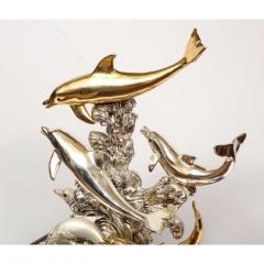 L Soprani Monumental Italian 925 Silver Lapis Dolphin Nautical Centerpiece Sculpture - 1111899