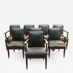 L on Jallot SET OF EIGHT FINE FRENCH ART DECO OAK ARMCHAIRS BY LEON AND MAURICE JALLOT - 746380